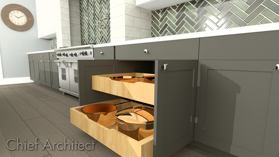 Base cabinet with rollout shelves that contain pots and pans