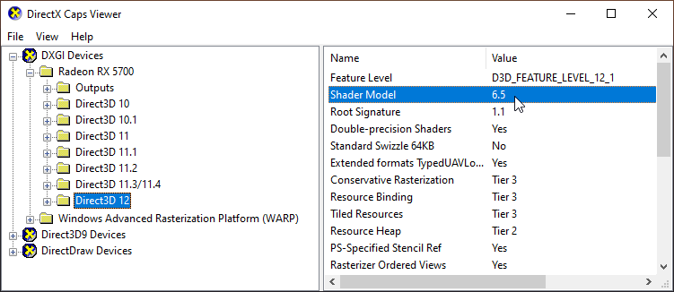 DirectX Caps Viewer utility with the Direct3D 12 folder selected for the video card