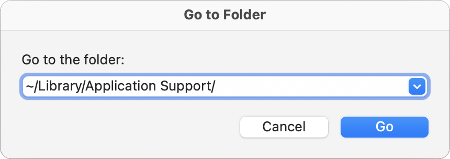 Go to Folder dialog with ~/Library/Application Support/ in the field