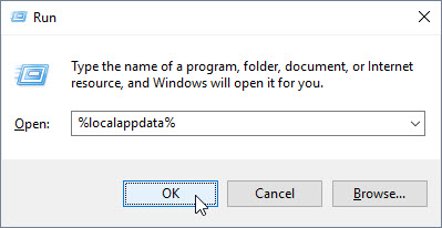 Run dialog with %localappdata% entered in the Open field