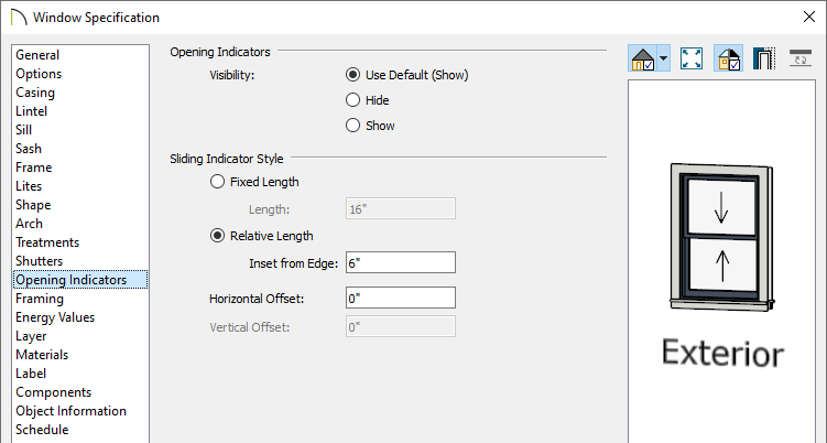 Opening Indicators panel of the Window Specification dialog