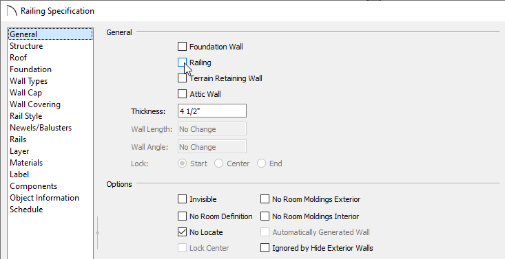 General panel of the Railing Specification dialog