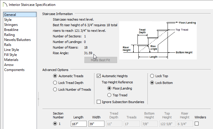 General panel of the Staircase Specification dialog