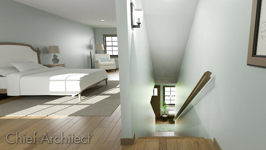 Sloped ceiling above a staircase