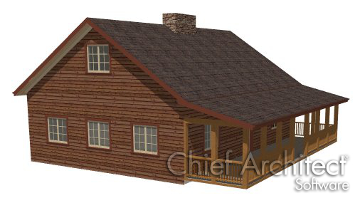 log cabin with lower pitched roof over railing porch