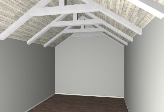 Roof and ceiling raised to expose top cords of trusses