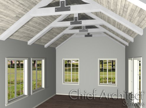 Creating exposed trusses in home designer pro for Cathedral ceiling trusses