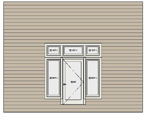 New window over door. One door and five windows