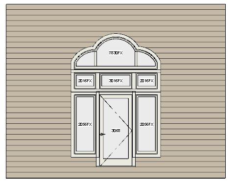 New trefoil window above three smaller windows