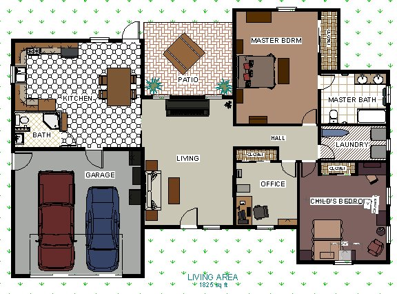 Creating a Floor Plan with Colors and Patterns