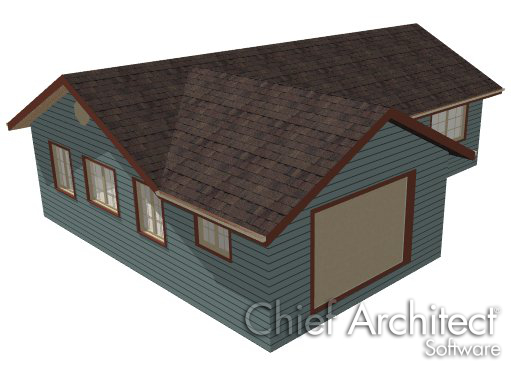 Camera view of main house with gable walls at each end and attached garage with gable roof over garage door