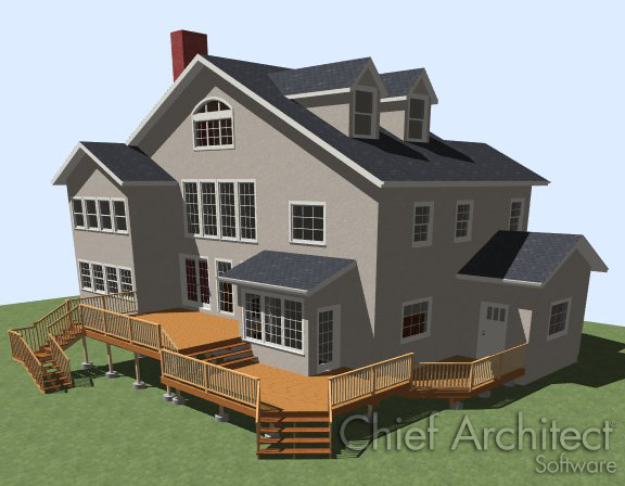 Camera views of house with deck and stairs from deck to terrain