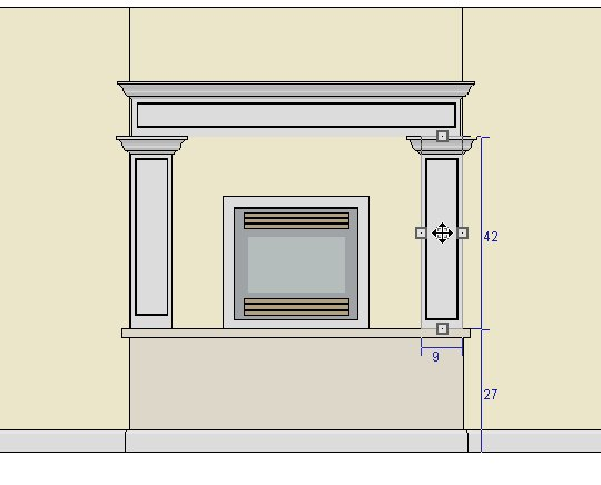 Mantel created out of three full height cabinets 9 inches square and 42 inches high