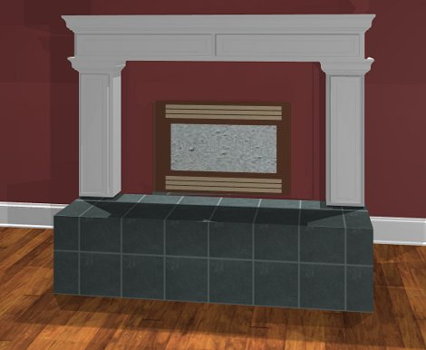 Full Camera view of fireplace with material for hearth applied