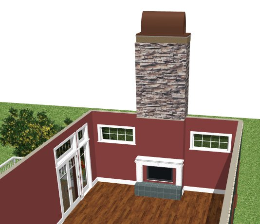 Doll House View of plan showing fireplace, chimney and chimney top