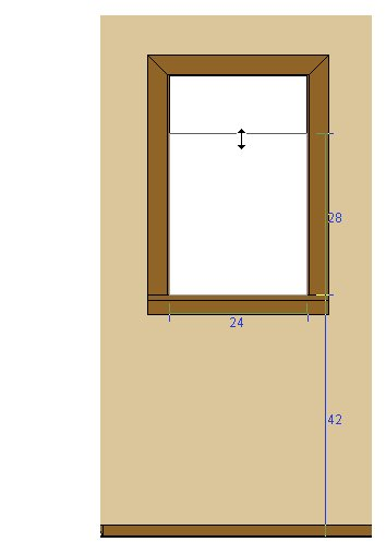 Elevation view of doorway being resized and positioned using temporary dimensions