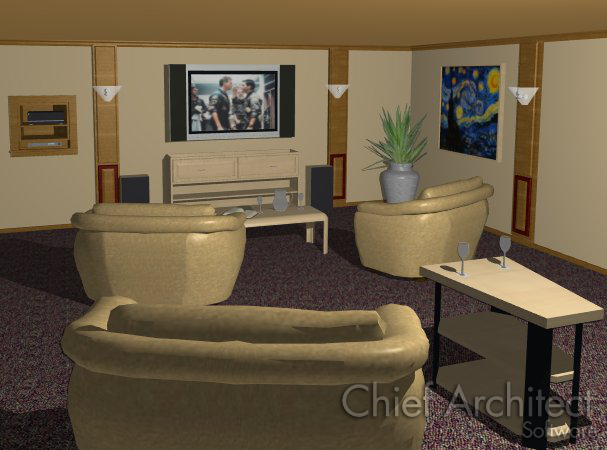Camera view of room with comfortable seating facing wall-mounted screen and speakers with electronics in a wall niche