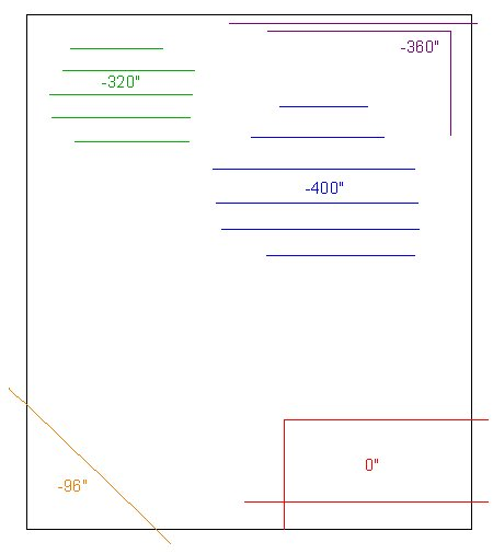 Plan View showing several elevation lines with different elevation values