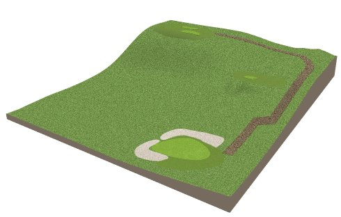3D view showing sand traps, greens and tee boxes