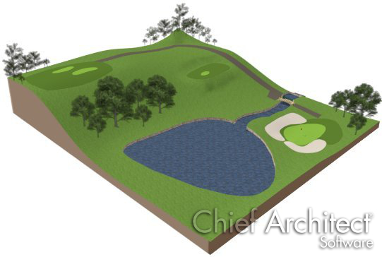 3D view showing pond and trees added
