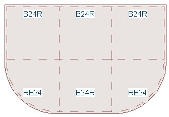 Floor Plan View of six cabinets with Left Radius End and Right Radius End
