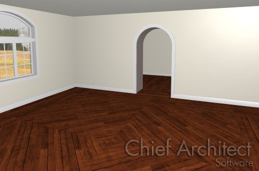 Camera view of room with wood plank flooring going diagonally