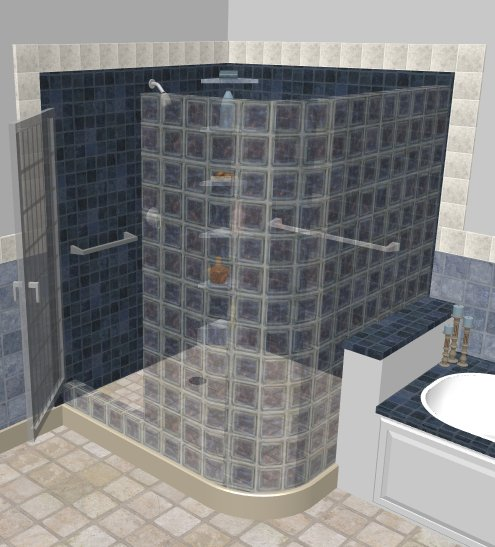 Glass Block Room   In The Example Above, We Used Two Straight Half ...
