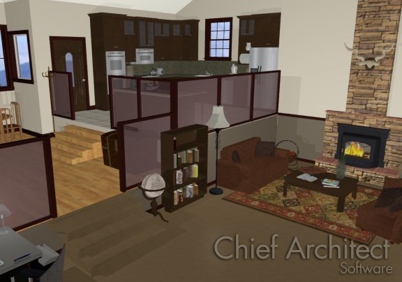 Camera view of living room with steps up to Dining room and more steps up from Dining room to Kitchen