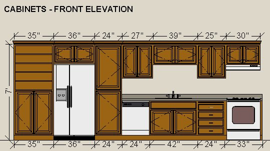 Front Elevation Kitchen : Dimensioning cabinets in a wall elevation