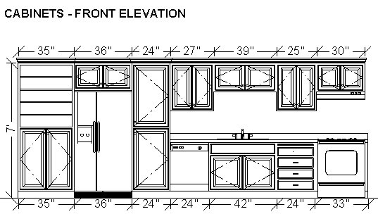 Dimensioning cabinets in a wall elevation for One wall kitchen dimensions