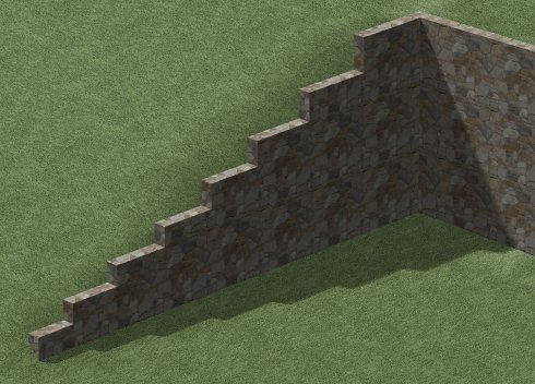 Camera view showing completed step shape along top of sloping retaining wall